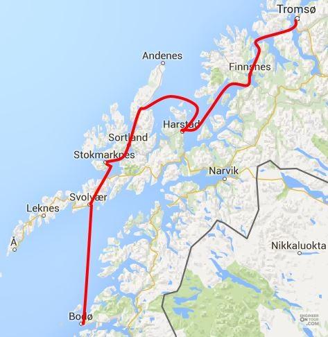 Day TromsoTrollfjordBodø Voyage Through The North - Norway map tromso